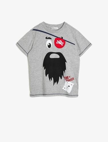 Koton Kids Baskili T-Shirt Gri